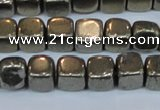 CPY620 15.5 inches 8*8mm cube pyrite gemstone beads
