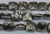 CPY636 15.5 inches 10*10mm faceted square pyrite gemstone beads