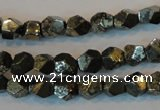 CPY77 15.5 inches 7-8mm faceted nuggets pyrite gemstone beads