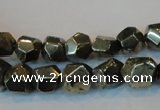 CPY79 15.5 inches 9-10mm faceted nuggets pyrite gemstone beads