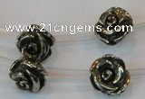 CPY93 15.5 inches 14mm carved rose pyrite gemstone beads wholesale