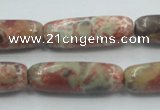 CRA09 15.5 inches 10*30mm cylinder natural rainforest agate beads