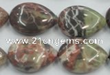 CRA19 15.5 inches 18*25mm flat teardrop natural rainforest agate beads