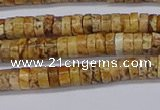 CRB1015 15.5 inches 2*4mm heishi picture jasper beads wholesale