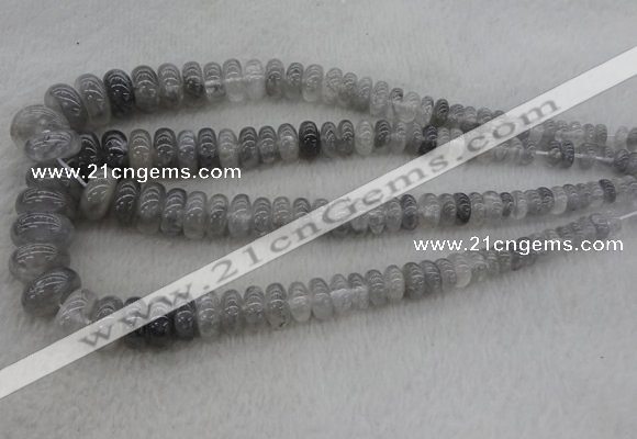 CRB1104 15.5 inches 5*8mm - 9*18mm rondelle cloudy quartz beads