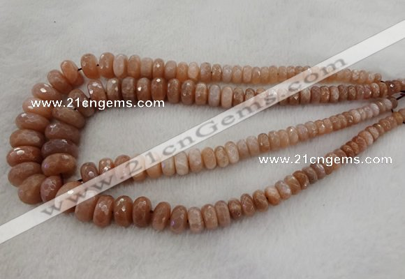 CRB1131 15.5 inches 5*8mm - 9*18mm faceted rondelle moonstone beads