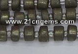 CRB1259 15.5 inches 5*8mm tyre matte pyrite gemstone beads