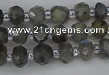 CRB1294 15.5 inches 4*6mm faceted rondelle labradorite beads