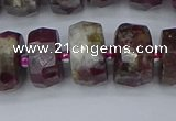 CRB1404 15.5 inches 8*16mm faceted rondelle tourmaline beads