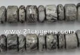 CRB163 15.5 inches 5*14mm & 10*14mm rondelle grey picture jasper beads