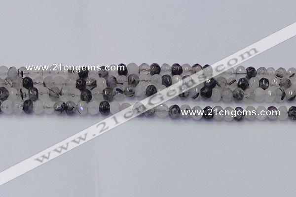 CRB1816 15.5 inches 4*6mm faceted rondelle black rutilated quartz beads
