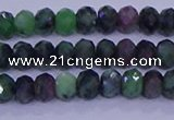 CRB1925 15.5 inches 2.5*4mm faceted rondelle ruby zoisite beads