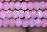 CRB1940 15.5 inches 2.5*4mm faceted rondelle rose quartz beads