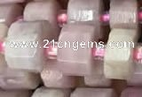 CRB2065 15.5 inches 7mm - 8mm faceted tyre kunzite gemstone beads
