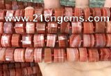 CRB2109 15.5 inches 13mm - 14mm faceted tyre south red agate beads