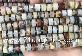 CRB2181 15.5 inches 11mm - 12mm faceted tyre crazy lace agate beads
