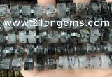CRB2194 15.5 inches 12mm - 13mm faceted tyre black rutilated quartz beads