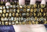 CRB2196 15.5 inches 9mm - 10mm faceted tyre yellow tiger eye beads