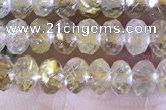 CRB2264 15.5 inches 3*5mm faceted rondelle golden rutilated quartz beads