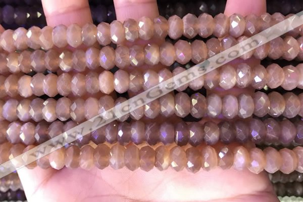 CRB2284 15.5 inches 5*8mm faceted rondelle moonstone beads