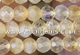 CRB2632 15.5 inches 3*4mm faceted rondelle citrine gemstone beads