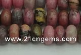 CRB2886 15.5 inches 5*8mm rondelle rhodonite beads wholesale