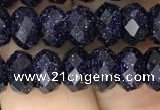 CRB3034 15.5 inches 5*8mm faceted rondelle blue goldstone beads