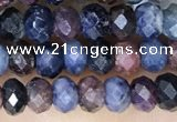 CRB3161 15.5 inches 2.5*4mm faceted rondelle tiny ruby & sapphire beads