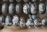 CRB4045 15.5 inches 4*6mm rondelle Chinese snowflake obsidian beads