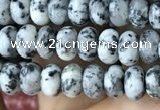 CRB4047 15.5 inches 4*6mm rondelle black & white spot stone beads