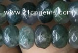 CRB5115 15.5 inches 4*6mm faceted rondelle moss agate beads