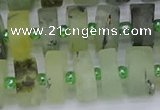 CRB527 15.5 inches 7*14mm tyre matte green rutilated quartz beads