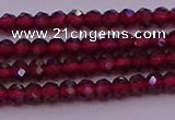 CRB704 15.5 inches 2*3mm faceted rondelle red garnet beads