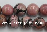 CRD06 15.5 inches 16mm round natural rhodonite gemstone beads