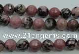 CRD11 15.5 inches 6mm faceted round rhodonite gemstone beads