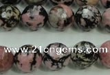 CRD17 15.5 inches 16mm faceted round rhodonite gemstone beads