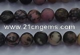 CRD23 15.5 inches 4mm round matte rhodonite beads wholesale