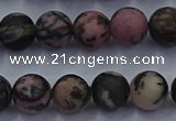 CRD25 15.5 inches 8mm round matte rhodonite beads wholesale