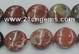 CRE07 16 inches 15mm flat round natural red jasper beads wholesale