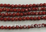 CRE151 15.5 inches 4mm faceted round red jasper beads wholesale