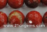 CRE159 15.5 inches 20mm faceted round red jasper beads wholesale