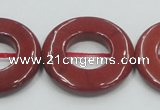 CRE22 16 inches 30mm donut natural red jasper beads wholesale