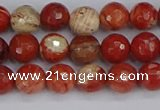 CRE331 15.5 inches 6mm faceted round red jasper beads