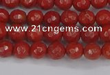CRE338 15.5 inches 4mm faceted round red jasper beads