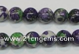 CRF04 15.5 inches 10mm round dyed rain flower stone beads wholesale