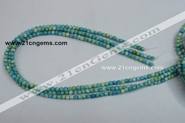 CRF100 15.5 inches 4mm round dyed rain flower stone beads wholesale