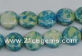 CRF117 15.5 inches 12mm flat round dyed rain flower stone beads