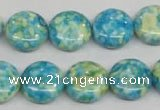 CRF118 15.5 inches 14mm flat round dyed rain flower stone beads