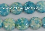 CRF119 15.5 inches 16mm flat round dyed rain flower stone beads