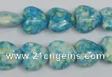 CRF132 15.5 inches 14*14mm heart dyed rain flower stone beads